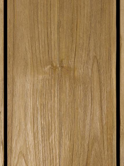 Rio table 143x143cm, frame: aluminium anthracite matt textured coating, oval table legs, tabletop: Vintage teak
