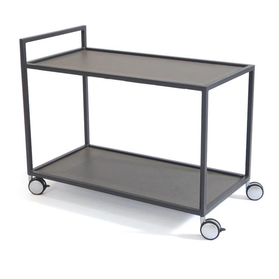 Rio trolley, frame: aluminium anthracite matt textured coating, tabletop: fm-laminat spezial graphite metallic