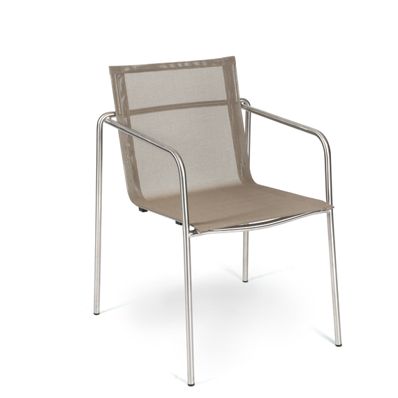 Taku armchair, stackable, frame: stainless steel, seating surface: sling taupe