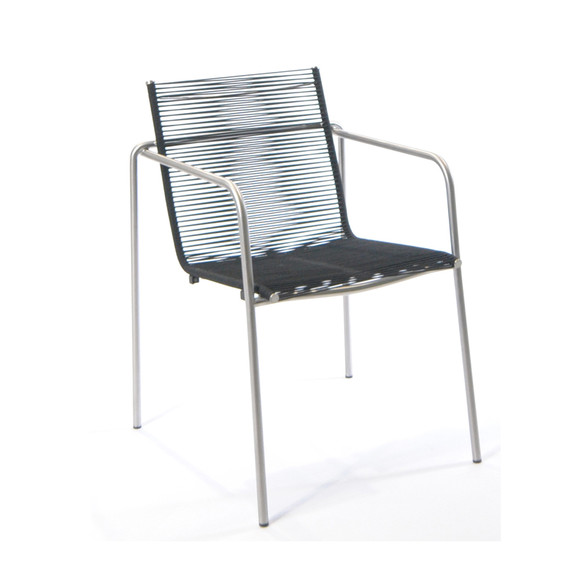 Taku armchair, stackable, frame: stainless steel electro polished, seating surface: fm-rope black