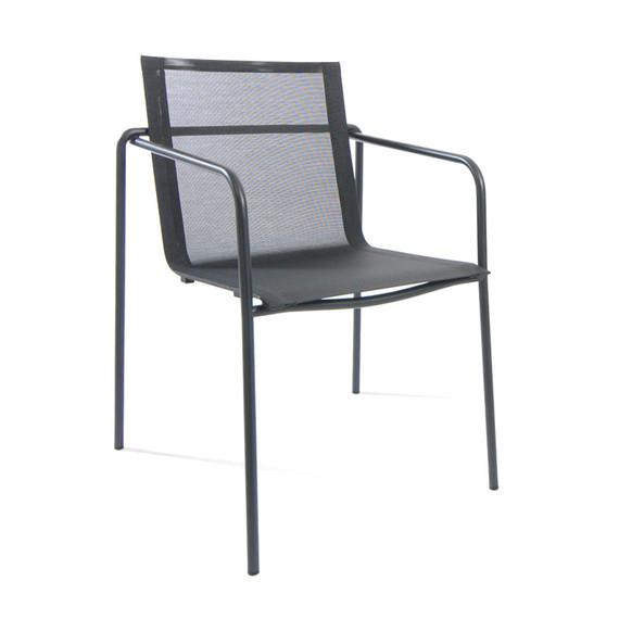 Taku armchair, stackable, frame: stainless steel, textured coating, anthracite matt, textured coating, anthracite matt, seating surface: sling black