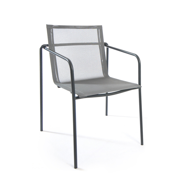 Taku armchair, stackable, frame: stainless steel, textured coating, anthracite matt, seating surface: sling silver-black