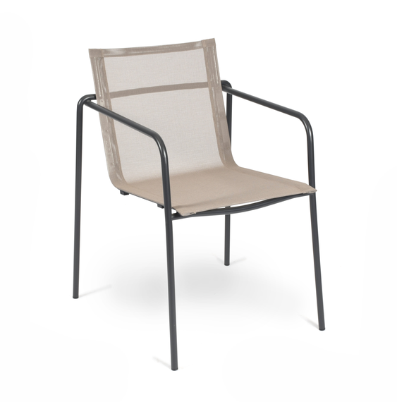Stapels. Taku, frame: stainless steel, textured coating, anthracite matt, seating surface: sling taupe