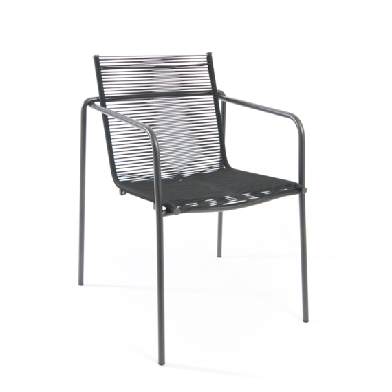 Taku armchair, stackable, frame: stainless steel, textured coating, anthracite matt, seating surface: fm-rope granite