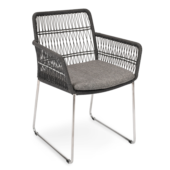 Filo armchair, frame: stainless steel, seating surface: fm-rope darkgrey