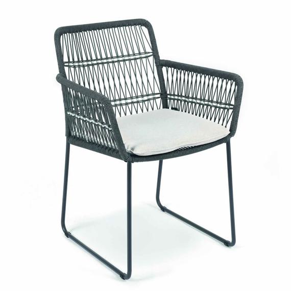 Filo armchair, frame: stainless steel anthracite matt textured coating, seating surface: fm-rope darkgrey
