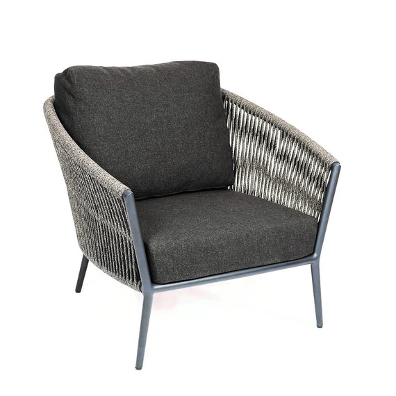 Cosmo armchair, frame: aluminium anthracite matt textured coated, seating surface: fm-flat rope anthracite, cushion seat and back shadow