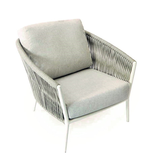 Cosmo armchair, frame: aluminium white matt textured coated, seating surface: fm-flat rope light grey, cushion seat and back pebble