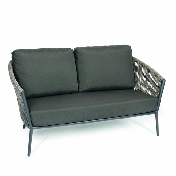 Cosmo Lounge 2-Seater, frame: aluminium anthracite matt textured coated, seating surface: fm-flat rope anthracite, cushion seat and back charcoal
