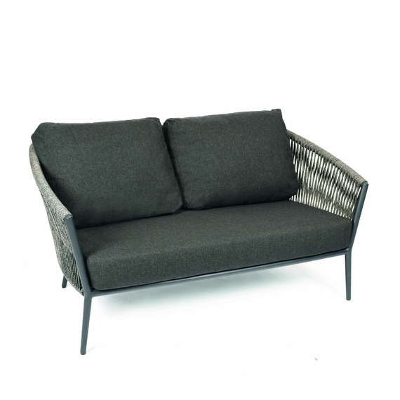 Cosmo Lounge 2-Seater, frame: aluminium anthracite matt textured coated, seating surface: fm-flat rope anthracite, cushion seat and back shadow