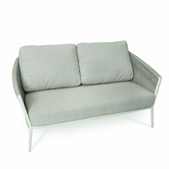 Cosmo Lounge 2-Seater, frame: aluminium white matt textured coated, seating surface: fm-flat rope light grey, cushion seat and back pebble