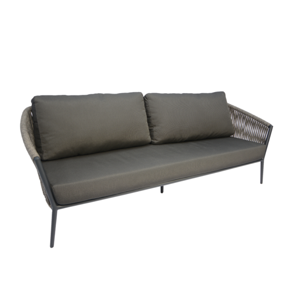 Cosmo Lounge 3-Seater, frame: aluminium anthracite matt textured coated, seating surface: fm-flat rope anthracite, cushion seat and back charcoal