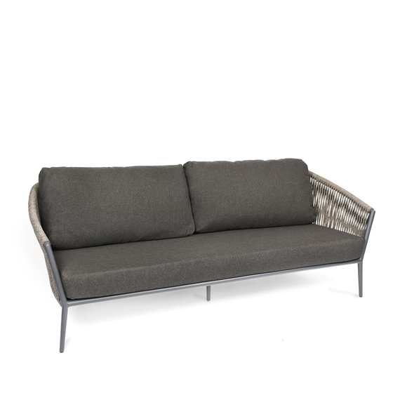 Cosmo Lounge 3-Seater, frame: aluminium anthracite matt textured coated, seating surface: fm-flat rope anthracite, cushion seat and back shadow
