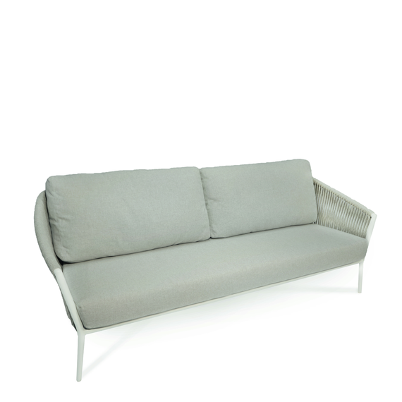 Cosmo Lounge 3-Seater, frame: aluminium white matt textured coated, seating surface: fm-flat rope light grey, cushion seat and back pebble