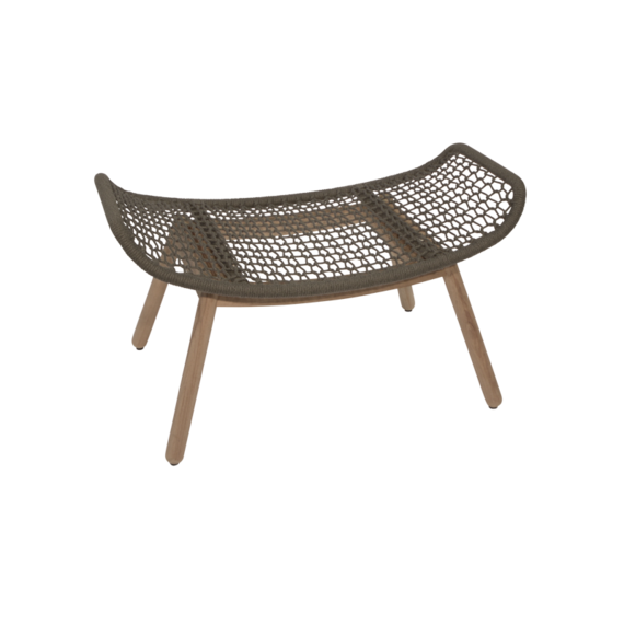 Wing light footrest, seat frame: aluminium, lower frame teak, seating surface:  fm-rope anthracite