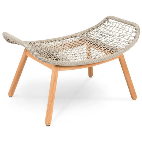 Wing light footrest, seat frame: aluminium, lower frame teak, seating surface:  fm-rope light grey