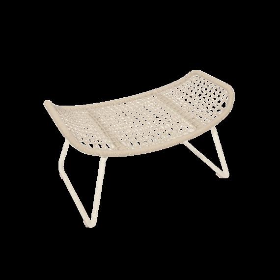 Wing light footrest, frame: aluminium white matt, textured coating, seating surface:  fm-rope light grey