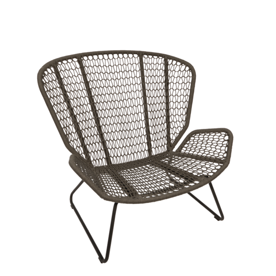 Wing light Relax armchair, frame: aluminium anthracite matt, textured coating, seating surface:  fm-rope anthracite