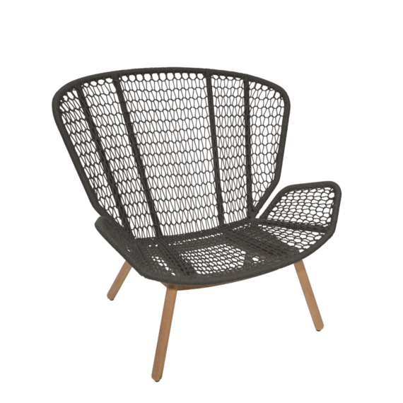 Wing light Relax armchair, seat frame: aluminium, lowder frame teak, seating surface:  fm-rope anthracite