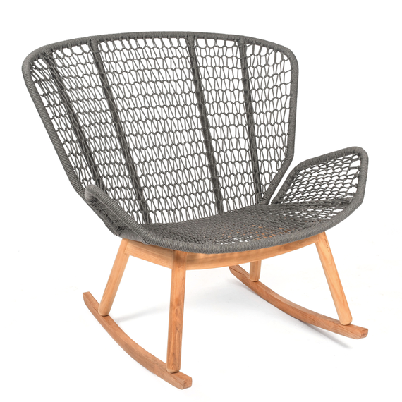 Wing rocking chair, seat frame: aluminium, lower frame and rocker teak, seating surface:  fm-rope antracite
