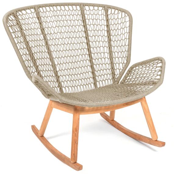 Wing rocking chair, seat frame: aluminium, lower frame and rocker teak, seating surface:  fm-rope lightgrey