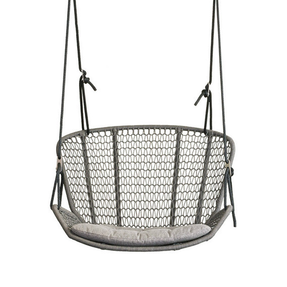Wing light hanging armchair, seat shell: aluminium powder coated, suspension incl. 2 Outdoor-ropes of approx. 7,50 m length each for mounting at 2 points at a height of approx. 2,70 m - 3,20 m, 2 thimbles, 2 carabiners, 4 adjustment brackets, seating surface:  fm-rope antracite