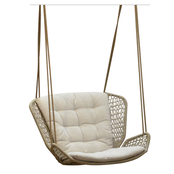 Wing light hanging armchair, seat shell: aluminium powder coated, suspension incl. 2 Outdoor-ropes of approx. 7,50 m length each for mounting at 2 points at a height of approx. 2,70 m - 3,20 m, 2 thimbles, 2 carabiners, 4 adjustment brackets, seating surface:  fm-rope lightgrey