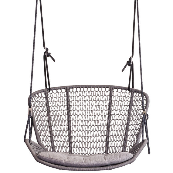 Wing light hanging armchair, seat shell: aluminium powder coated, Suspension 2: Incl. 2 Outdoor-ropes of approx. 7,50 m length each for mounting at 1 point at a height of approx. 4 m - 5,5 m, 2 swivel eyes, 2 thimbles, 1 stainless steel crossbar, 4 adjustment brackets, 3 large carabiners, 6 small carabiners, 3 stainless steel chains (1x 1 m and 2x 0,7 m), seating surface:  fm-rope antracite