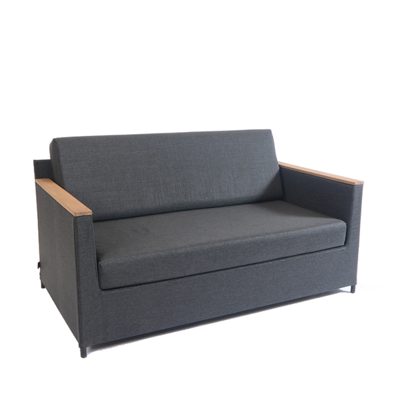 Rio lounge sofa 150x85cm, incl. seat and back cushions with Quick Dry Foam, frame: aluminium, powder coated anthracite, seating surface: sling anthracite, armrest: teak