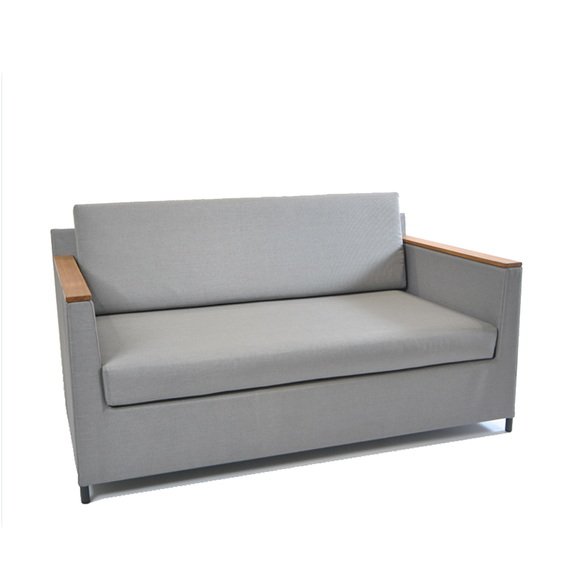 Rio lounge sofa 150x85cm, incl. seat and back cushions with Quick Dry Foam, frame: aluminium, powder coated anthracite, seating surface: sling greystone, armrest: teak
