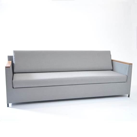 Rio lounge sofa 210x85cm, incl. seat and back cushions with Quick Dry Foam, frame: aluminium, powder coated anthracite, seating surface: sling greystone, armrest: Soft-touch anthracite