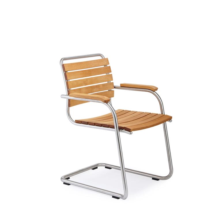 Swing Freischwinger, Gestell: Edelstahl, Sitzfläche: Teak, Armlehne: Teak