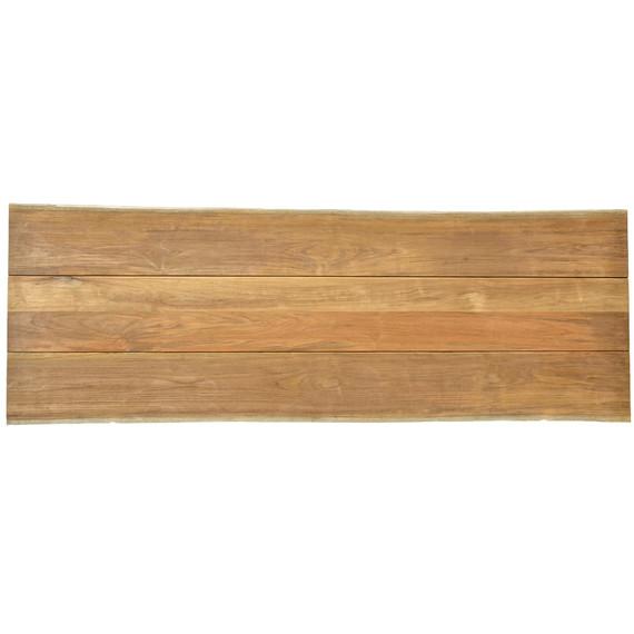 Unikat Teakholzplatte mit Baumkante 280x100 cm (Breite variiert von 96 - 104 cm)