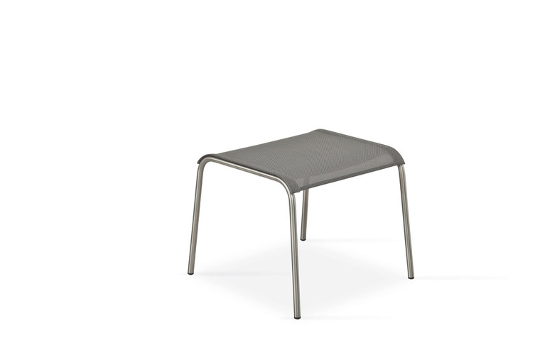 Taku footrest, frame: stainless steel, seating surface: sling silver-black