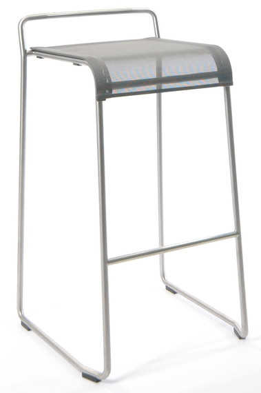 Taku barchair, frame: stainless steel, seating surface: sling silver-black