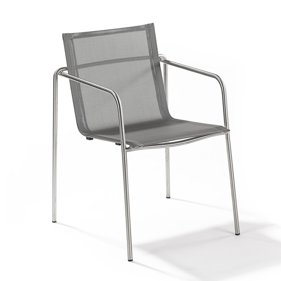 Taku armchair, stackable, frame: stainless steel, seating surface: sling silver-black