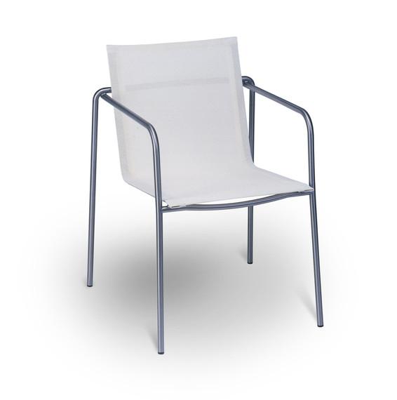 Stapels. Taku, frame: stainless steel, seating surface: sling white