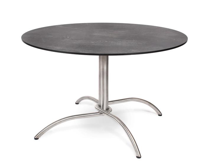 Taku bistro table round 120cm, frame: stainless steel, table top: fm-laminat spezial graphito
