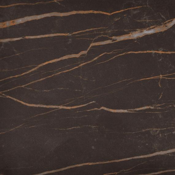 Taku bistro table round 115cm, frame: stainless steel white matt textured coating, tabletop: fm-cermatop Marrone