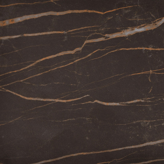 Taku bistro table round 132cm, frame: stainless steel white matt textured coating, tabletop: fm-cermatop Marrone