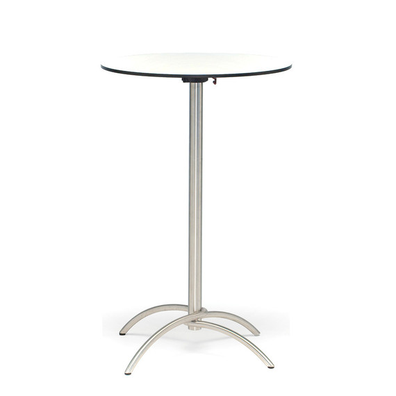 Taku cocktail table round 68cm, frame: stainless steel, table top: fm-laminat spezial white