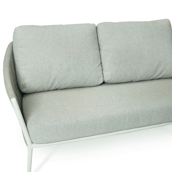 Cosmo 2-Seater bench, frame: aluminium white matt textured coated, seating surface: fm-flat rope lightgrey, cushion seat and back pebble