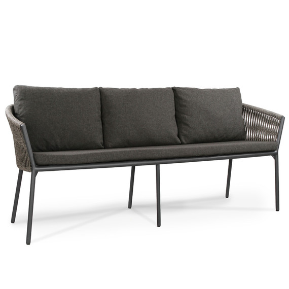 Cosmo 3-Seater bench, frame: aluminium anthracite matt textured coated, seating surface: fm-flat rope anthracite, cushion seat and back charcoal