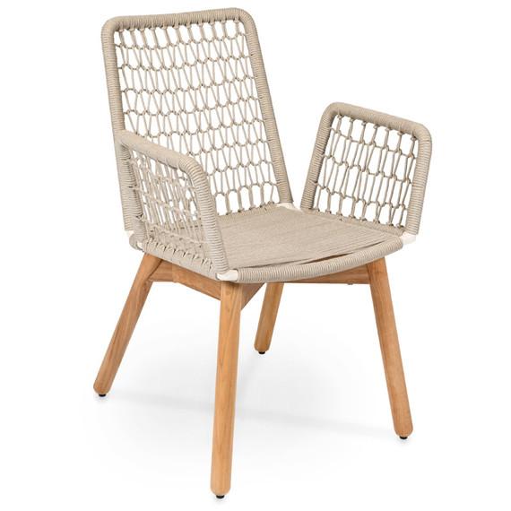 Wing armchair light, frame: aluminium, lower frame teak, seating surface:  fm-rope lightgrey