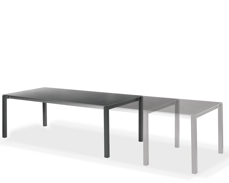 Rio front extension tables, frame aluminium powder coated metallic-silver