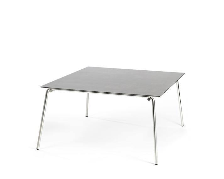 Taku table 143,5x143,5cm, frame: stainless steel, table top: fm-laminat spezial Titan