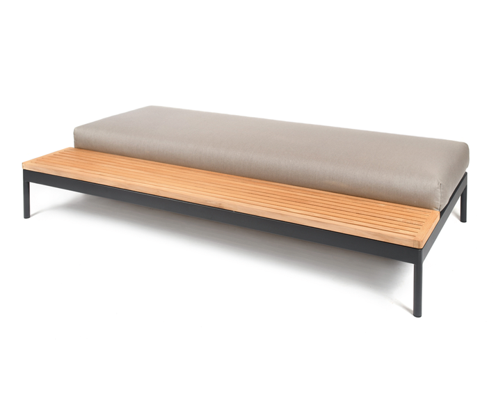 Kairos Lounge seating element 200x100 cm with upholstery and teak or ceramic platofrm in left or right position