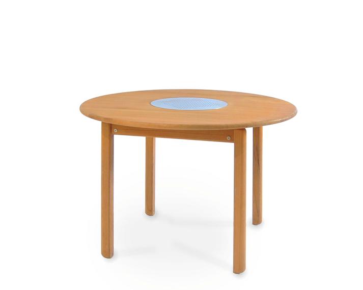Tennis table round 95cm, frame: teak, tabletop: teak